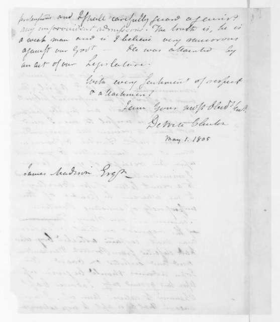 DeWitt Clinton to James Madison, May 1, 1805.