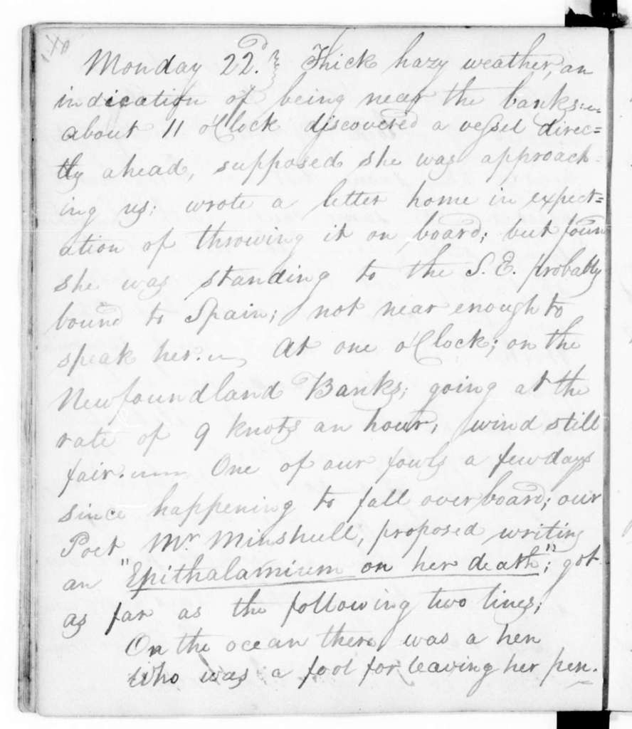 Diaries---January-October 1805; July-August 1811; August-October 1815