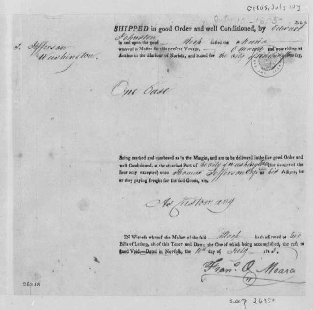 Edward Johnston to Thomas Jefferson, July 11, 1805, Bill