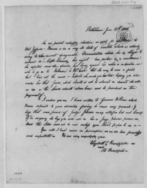 Elizabeth G. Bampfield and Sarah A. Bampfield to Thomas Jefferson, June 30, 1805, Enclosed with Receipt from Amelia Bampfield to Thomas Jefferson