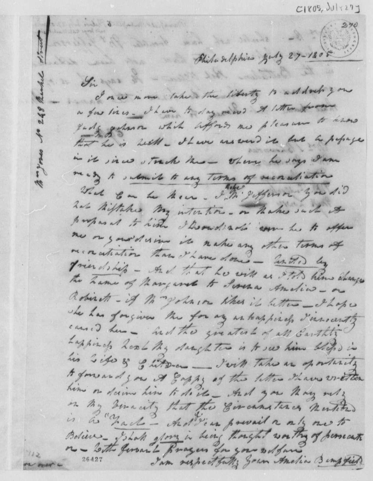 Elizabeth G. Bampfield to Thomas Jefferson, July 27, 1805