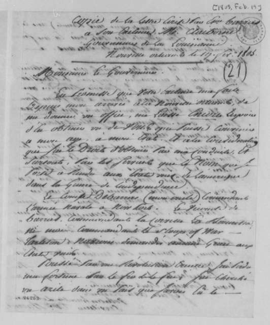 Etienne Barras to William C. C. Claiborne, February 19, 1805, in French