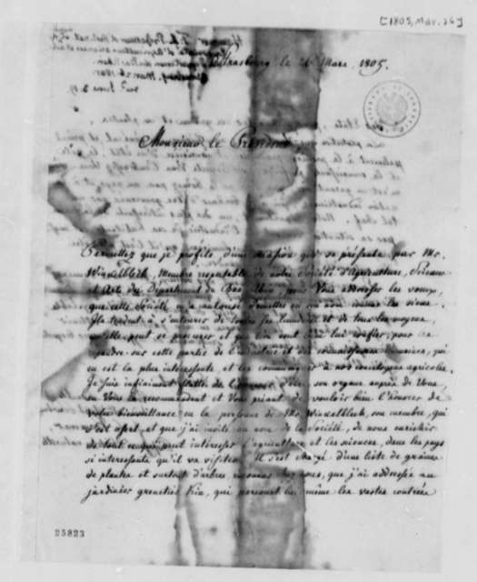 F. L. Hammer to Thomas Jefferson, March 26, 1805, in French