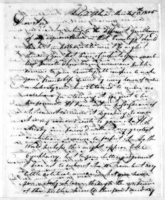 Felix Robertson to Andrew Jackson, March 25, 1805