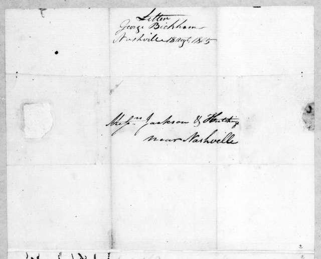 George Bickham to Jackson & Hutchings, August 18, 1805