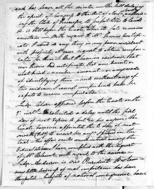 George Washington Campbell to Andrew Jackson, January 17, 1805