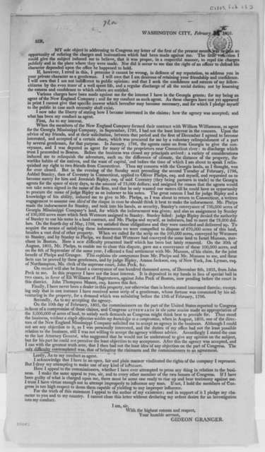Gideon Granger to Congress, February 25, 1805, Broadside