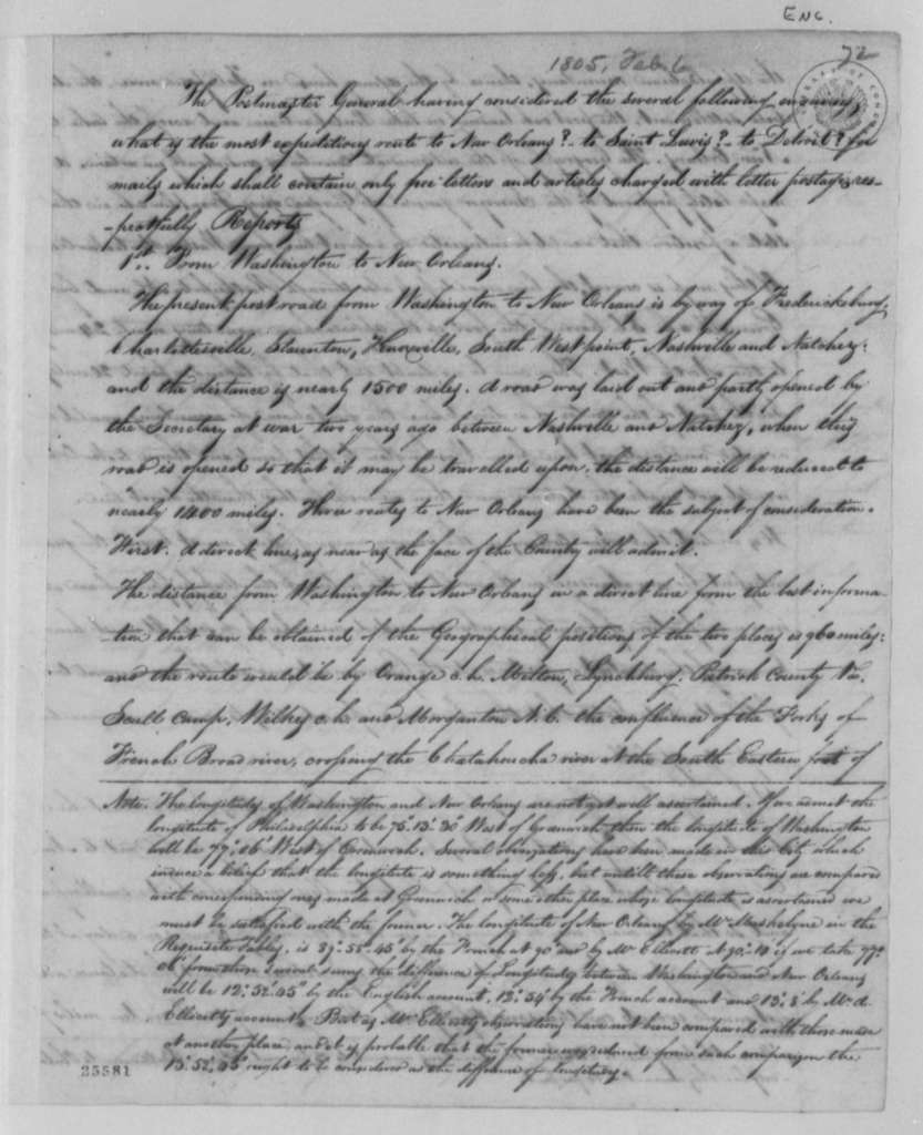 Gideon Granger to Thomas Jefferson, February 5, 1805, with Report