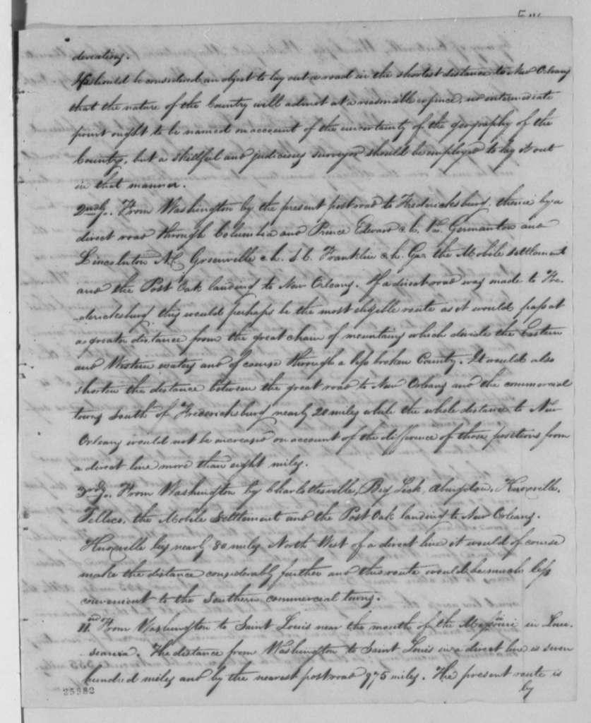 Gideon Granger to Thomas Jefferson, February 5, 1805, with Report