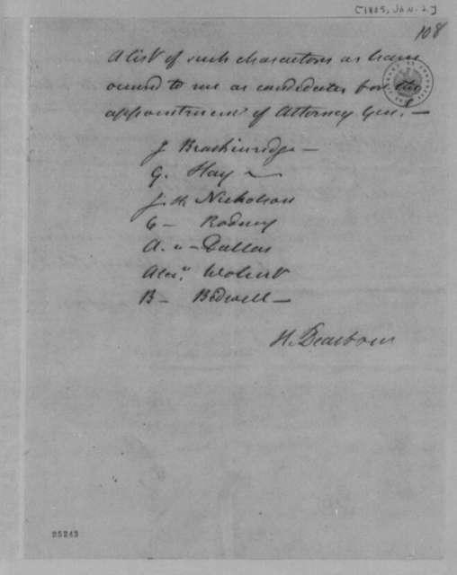 Henry Dearborn to Thomas Jefferson, January 2, 1805, List
