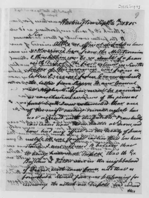Henry Dearborn to Thomas Jefferson, September 4, 1805