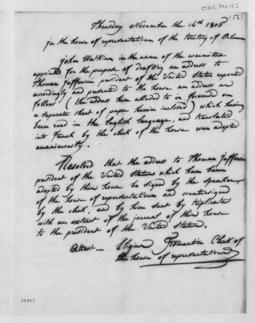 House of Representatives of Orleans Territory to Thomas Jefferson, November 14, 1805, Resolution