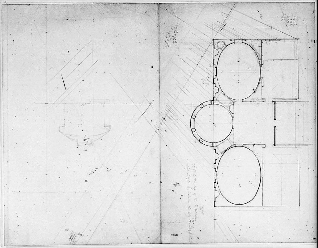 """[House (""""Tudor Place"""") for Thomas and Martha Custis Peter, 1644 31st Street, N.W., Georgetown, Washington, D.C. Floor plan and sketched elevation]"""