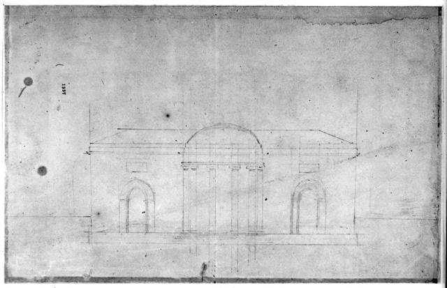 "[House (""Tudor Place"") for Thomas and Martha Custis Peter, 1644 31st Street, N.W., Georgetown, Washington, D.C. Front elevation sketch]"