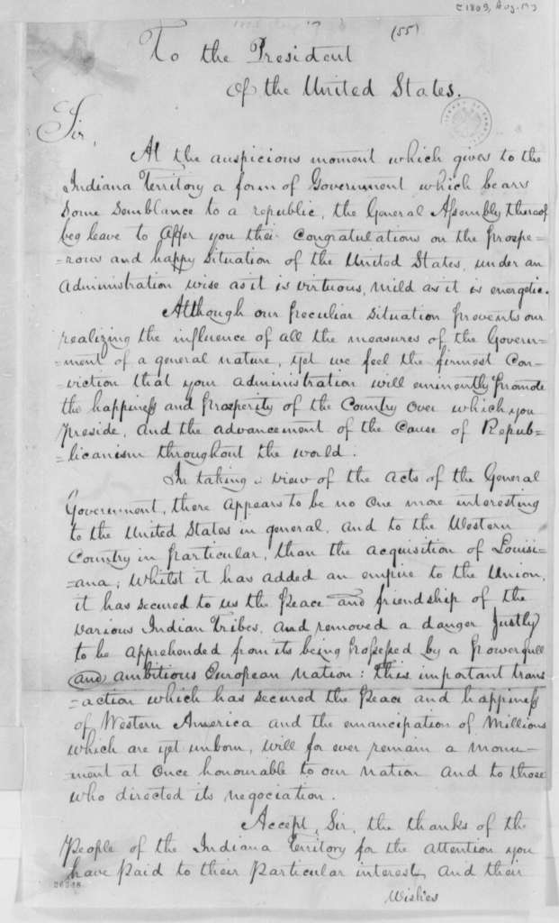 Indiana Territory to Thomas Jefferson, August 19, 1805