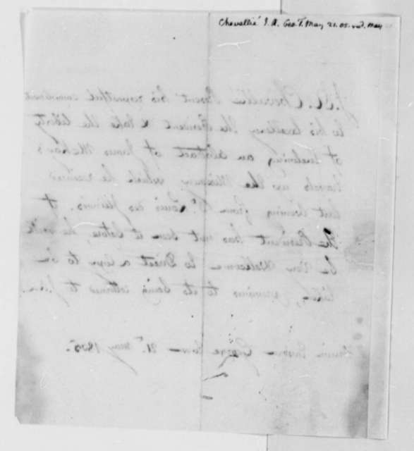J. A. Chevallie to Thomas Jefferson, May 21, 1805,