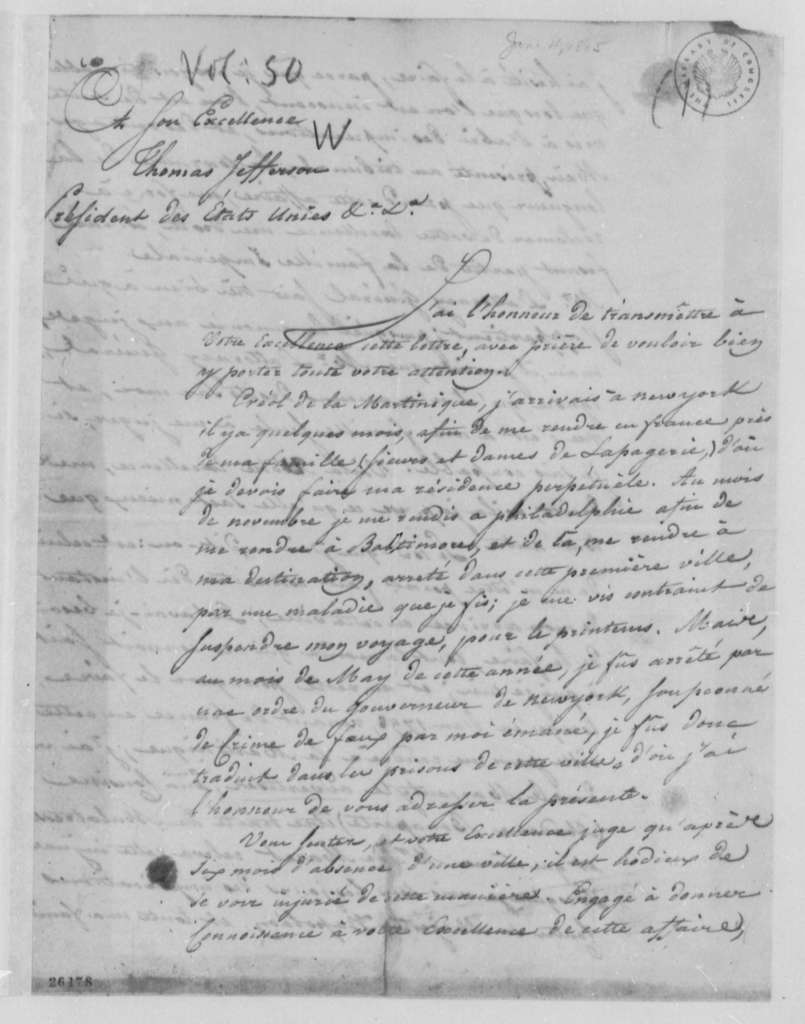 J. A. le Blanc to Thomas Jefferson, June 4, 1805, in French
