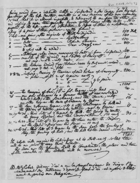 J. Philip Reibelt, July 7, 1805, List of Art Works in French