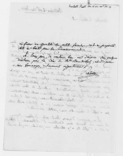 J. Philip Reibelt to Beal Clement, December 16, 1805, in French