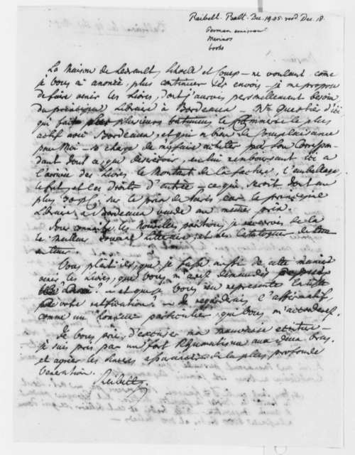 J. Philip Reibelt to Beal Clement, December 19, 1805, in French