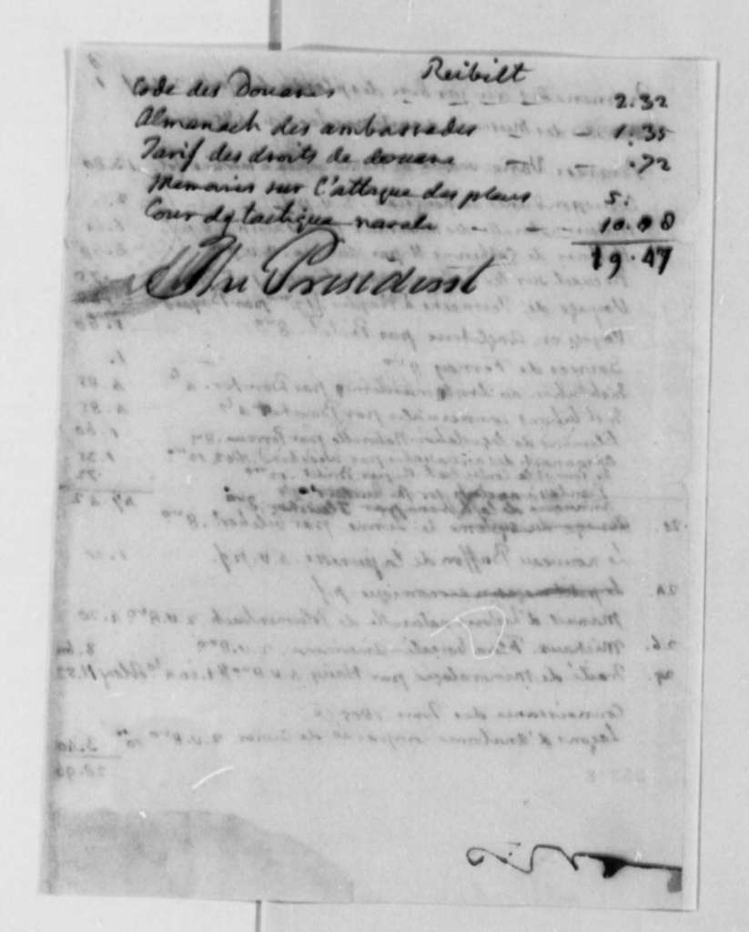 J. Philip Reibelt to Thomas Jefferson, 1805, List in French
