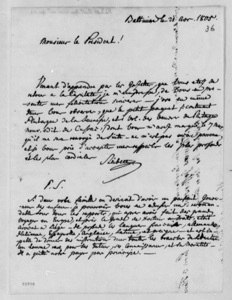 J. Philip Reibelt to Thomas Jefferson, April 21, 1805, in French