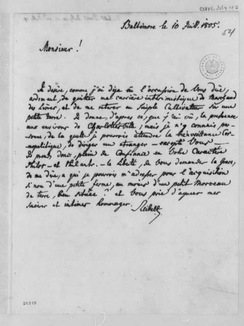 J. Philip Reibelt to Thomas Jefferson, July 10, 1805, in French