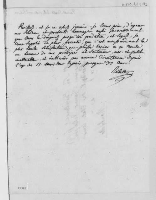 J. Philip Reibelt to Thomas Jefferson, July 15, 1805, in French