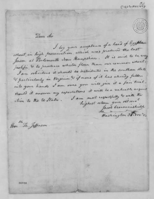 Jacob Crowninshield to Thomas Jefferson, November 30, 1805