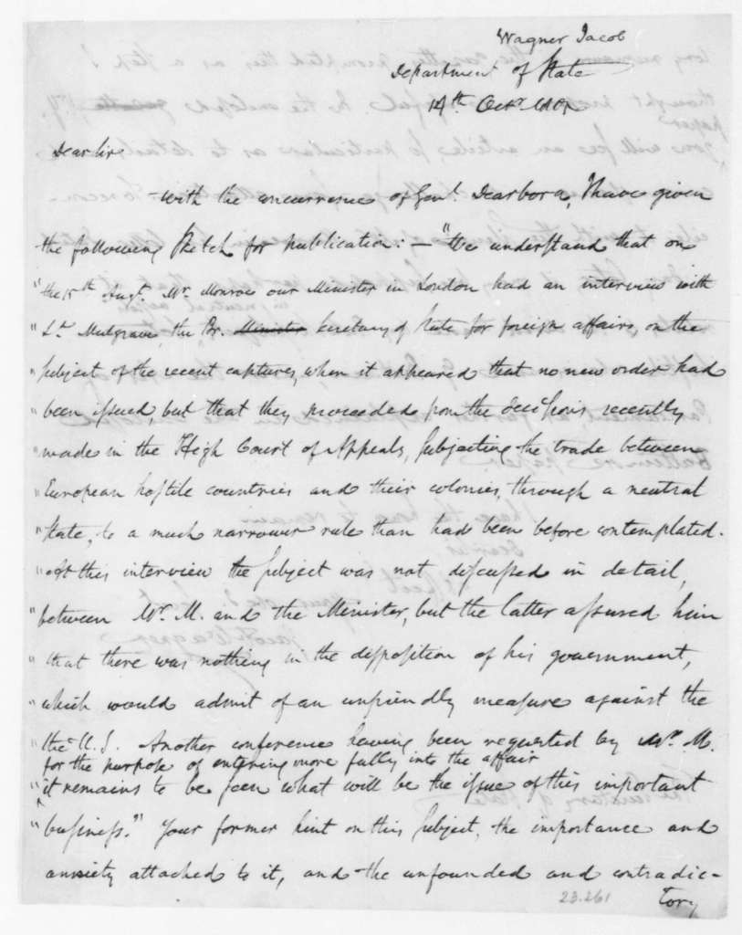 Jacob Wagner to James Madison, October 14, 1805.