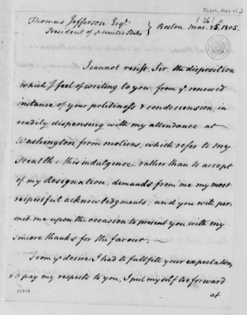 James Bowdoin to Thomas Jefferson, March 25, 1805