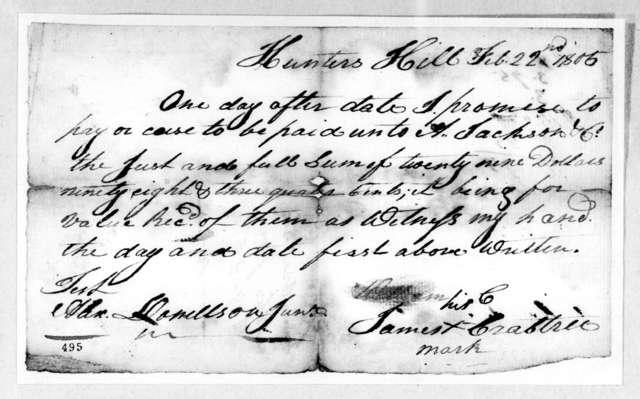 James Crabtree to Andrew Jackson & Co., February 22, 1805
