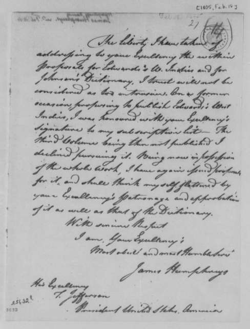 James Humphreys to Thomas Jefferson, February 18, 1805