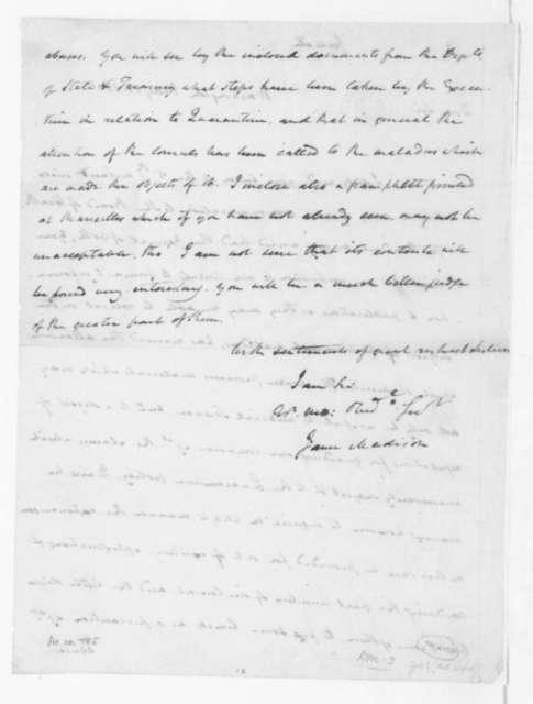 James Madison to Samuel Latham Mitchill, May 13, 1805.