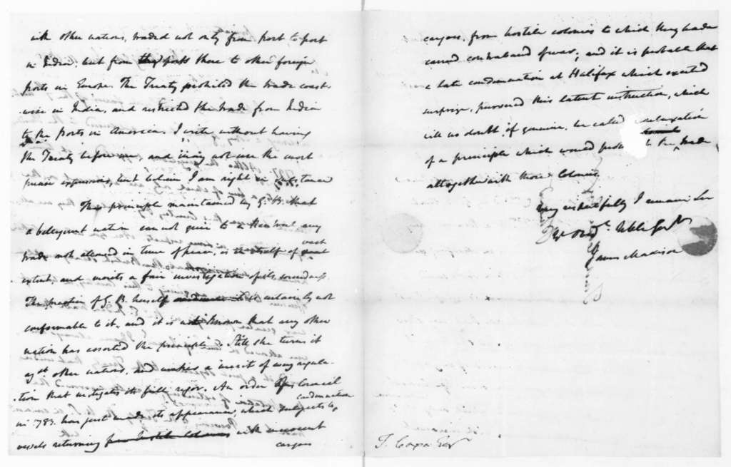 James Madison to Tench Coxe, June 11, 1805.