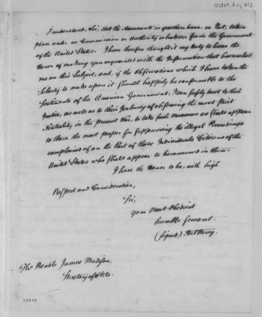James Madison to Thomas Jefferson, January 31, 1805, Arming of American Vessels