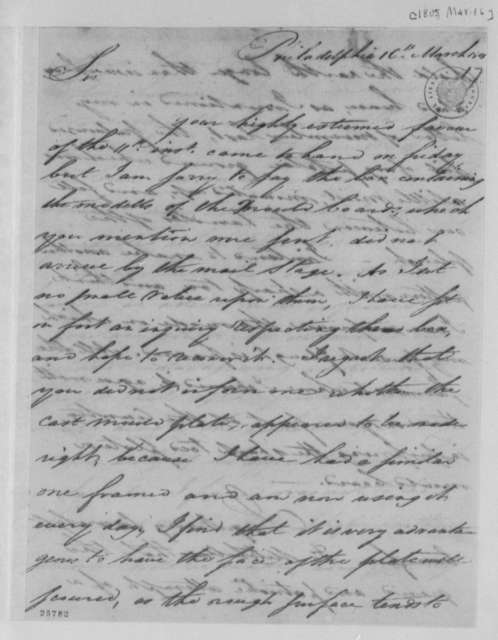 James Mease to Thomas Jefferson, March 16, 1805