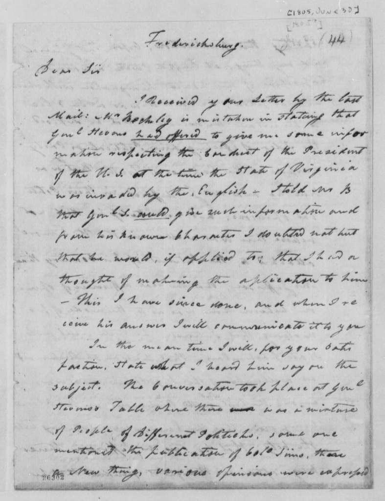 James Minor to William A. Burwell, June 30, 1805
