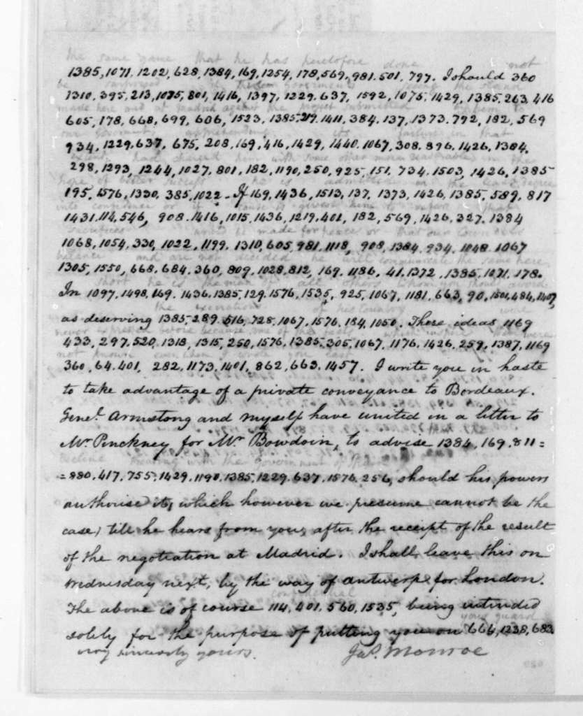 James Monroe to James Madison, July 6, 1805. Partly in cipher.
