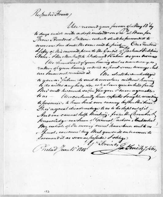 James Smith & Son to Andrew Jackson, June 15, 1805