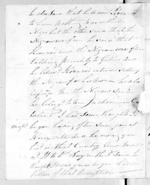 Jesse Roach to Andrew Jackson, December 3, 1805