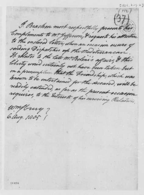 John Bracken to Thomas Jefferson, August 6, 1805