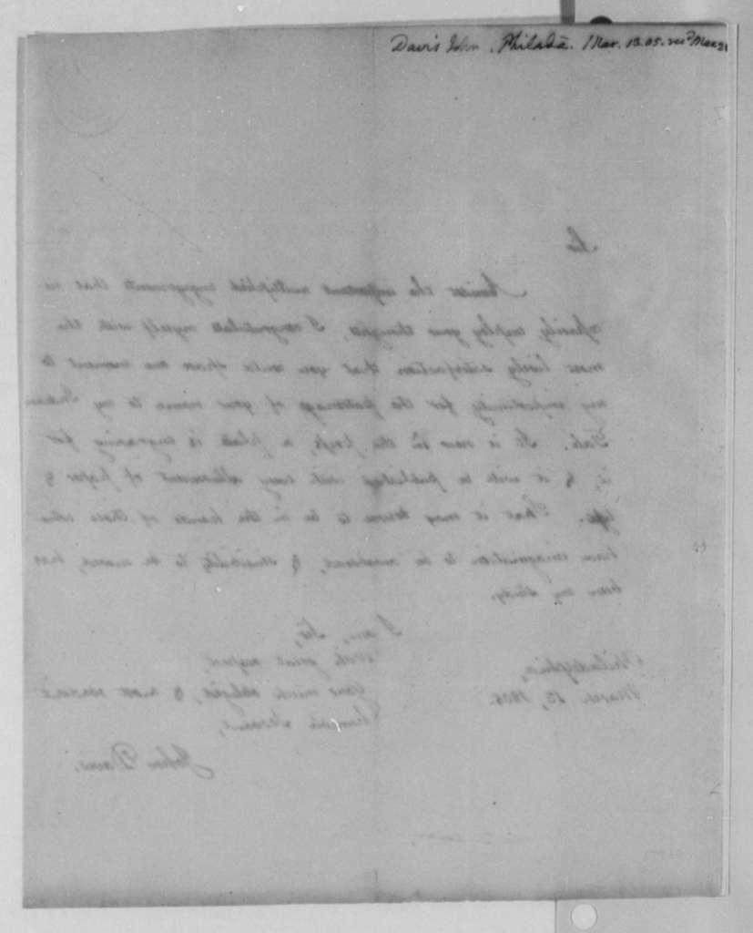 John Davis to Thomas Jefferson, March 13, 1805