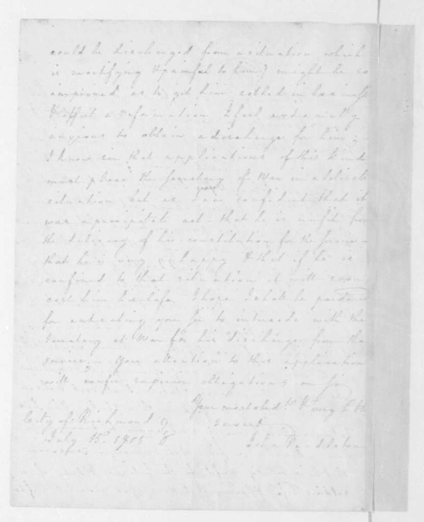 John Pendleton to James Madison, July 15, 1805.