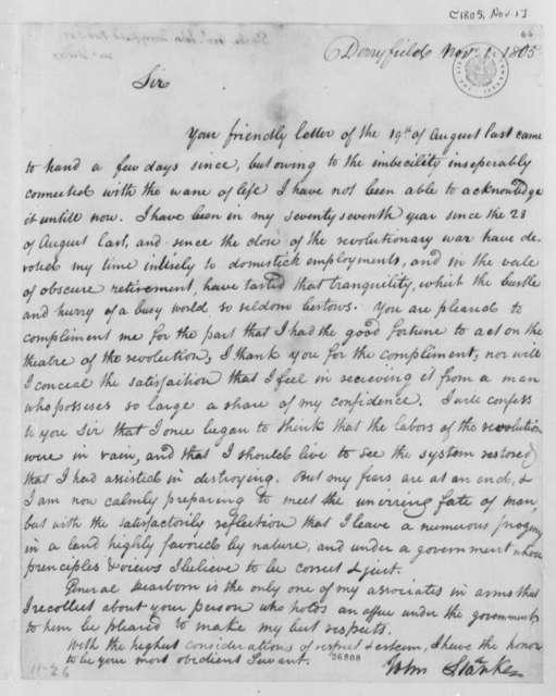 John Stark to Thomas Jefferson, November 1, 1805