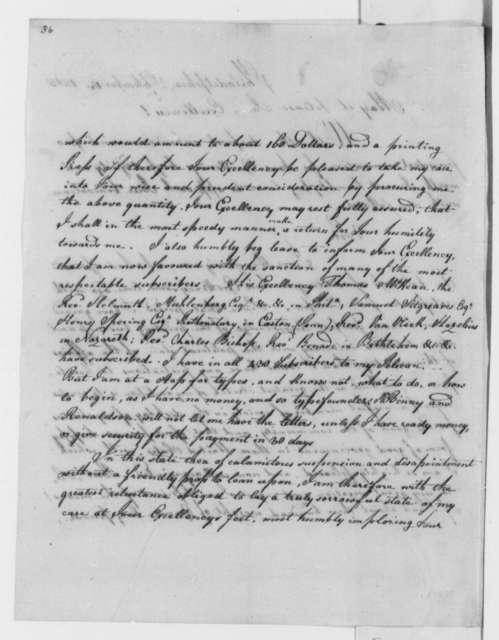 Joseph Forster to Thomas Jefferson, September 14, 1805