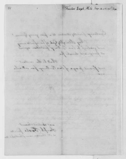Joseph Forster to Thomas Jefferson, September 14, 1805