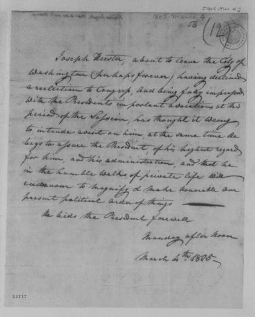 Joseph Heister to Thomas Jefferson, March 4, 1805