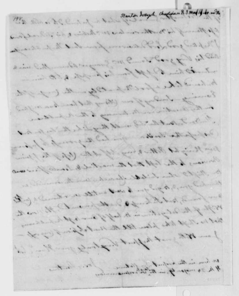 Joseph Stanton to Thomas Jefferson, May 9, 1805
