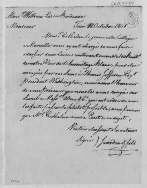 Jourdan & Sons to William Lee, October 12, 1805, with Copies